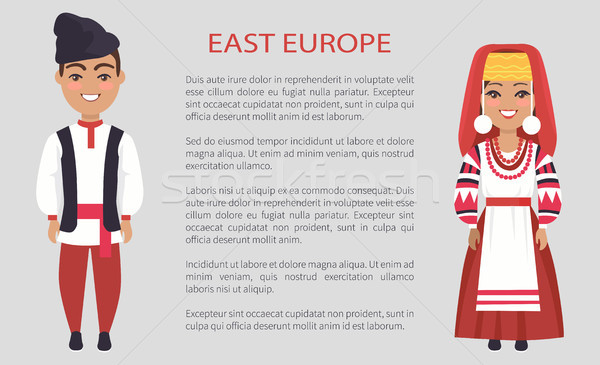 East Europe Costumes on Vector Illustration White Stock photo © robuart