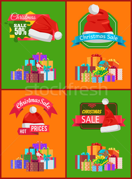 Bright Christmas Sale Cards Vector Illustration Stock photo © robuart