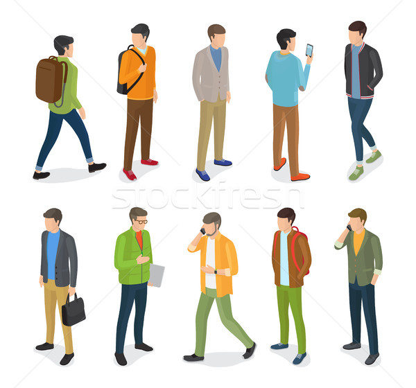 Group of Teenage Guys Dressed in Different Clothes Stock photo © robuart