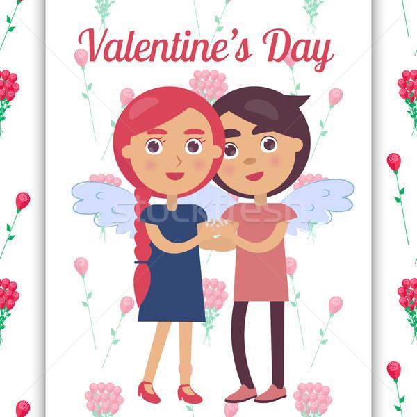 Valentin nap poszter fiatal szerelmespár mosolyog tart Stock fotó © robuart