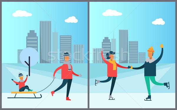 父 子 そり カップル スケート ストックフォト © robuart