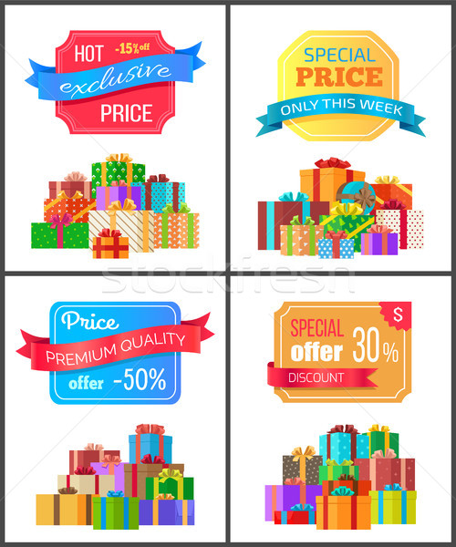 Set of Special Price Exclusive Discount Posters Stock photo © robuart