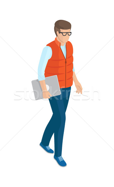 Stock photo: Man in Red Sleeveless Jacket, Blue Jeans and Shoes