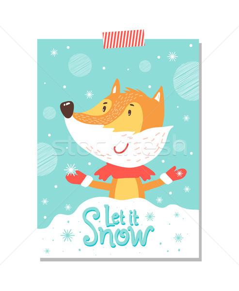 снега открытки улыбаясь Fox шарф красный Сток-фото © robuart