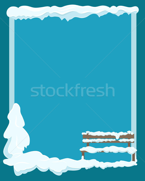 Bench under Snow Greeting Card with Empty Space Stock photo © robuart