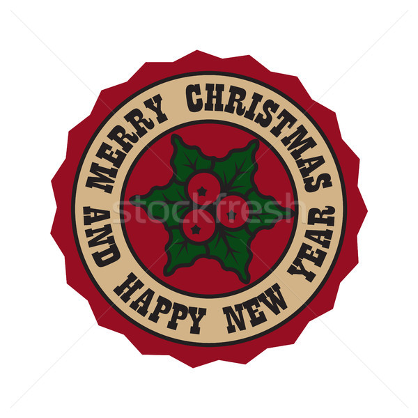 Joyeux Noël gui happy new year circulaire badge Photo stock © robuart