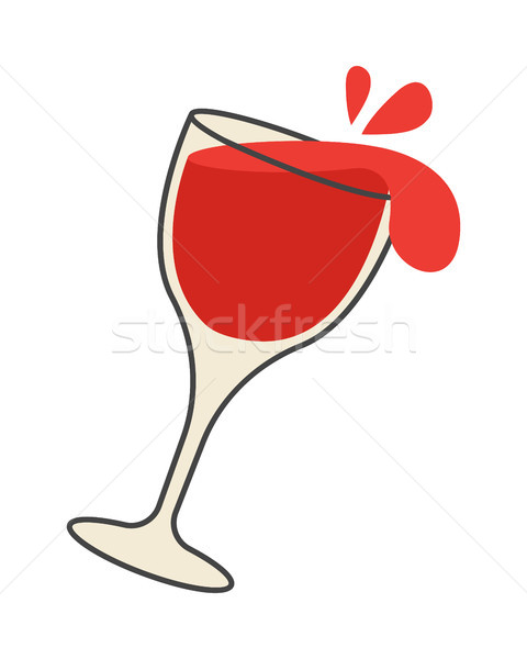 Red Wine Pours Out of Overturned Glass Cartoon Stock photo © robuart