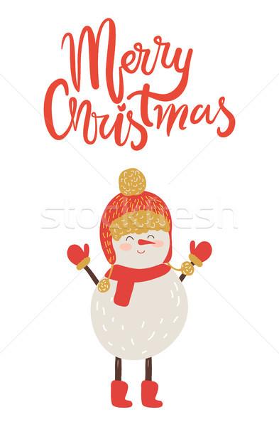 Allegro Natale poster congratulazione pupazzo di neve rosso Foto d'archivio © robuart