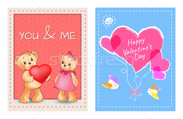 Valentines Day Postcards with Bears and Hearts Stock photo © robuart