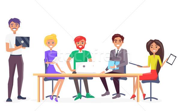 Negócio conversa cartaz grupo empresários sessão Foto stock © robuart