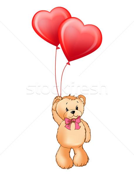 Komik ayı yay boyun balonlar oyuncak Stok fotoğraf © robuart