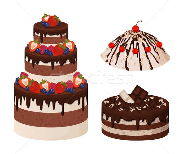 Sweet хлебобулочные коллекция плакат торты кремом Сток-фото © robuart