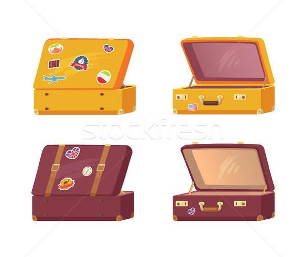 Set of Retro Suitcases Front Back Memory Stickers Stock photo © robuart