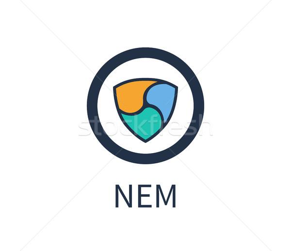 Nem Cryptocurrency Icon, Title Vector Illustration Stock photo © robuart