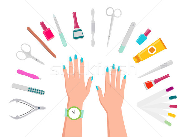Female Hands, Manicure Tools and Nail Polishes Stock photo © robuart