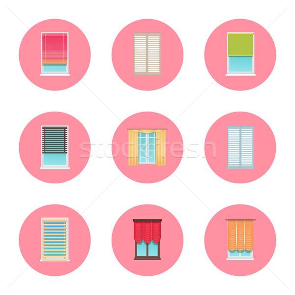 Windows and Curtains Set, Vector Illustration Stock photo © robuart
