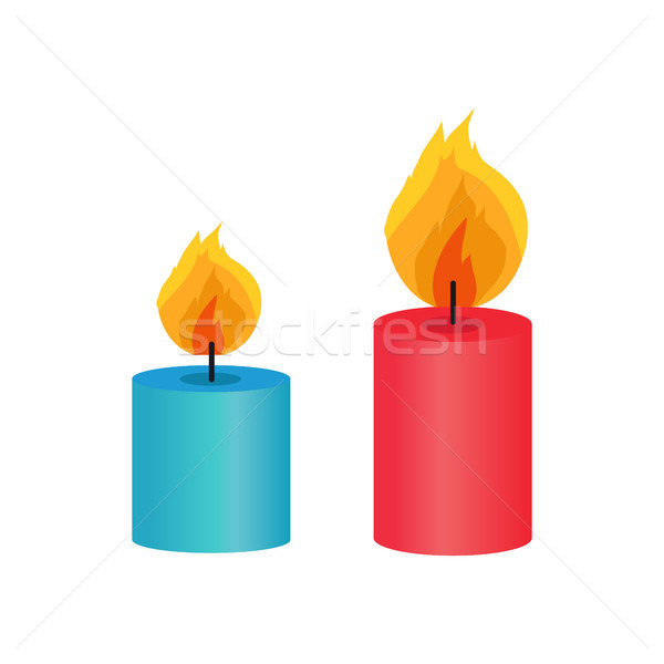 Two Small Decorative Candles, Vector Illustration Stock photo © robuart
