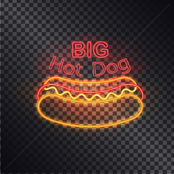 Grand hot dog néon icône isolé noir Photo stock © robuart