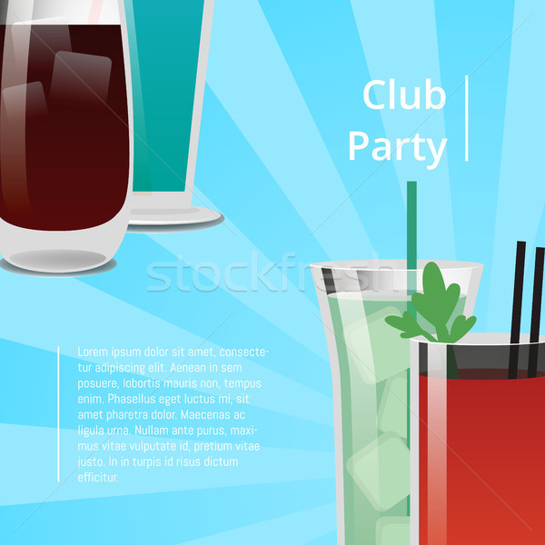 Club Party Poster with Bloody Mary Cocktail Vector Stock photo © robuart