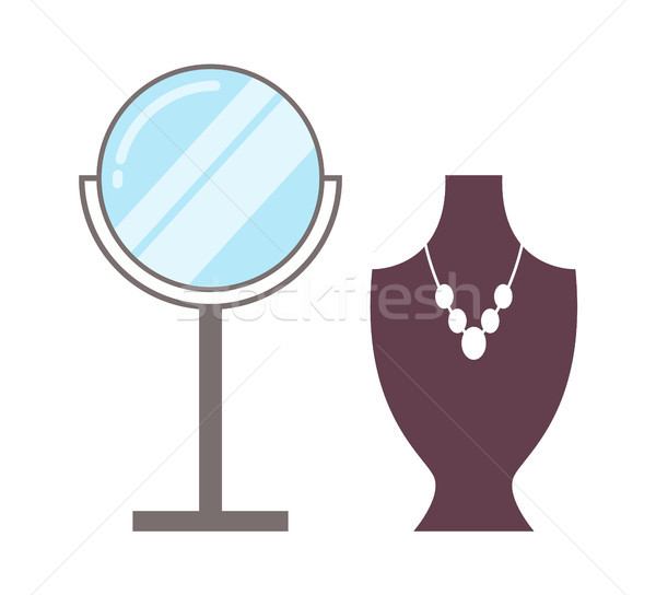 Mirror and Necklace Set Poster Vector Illustration Stock photo © robuart