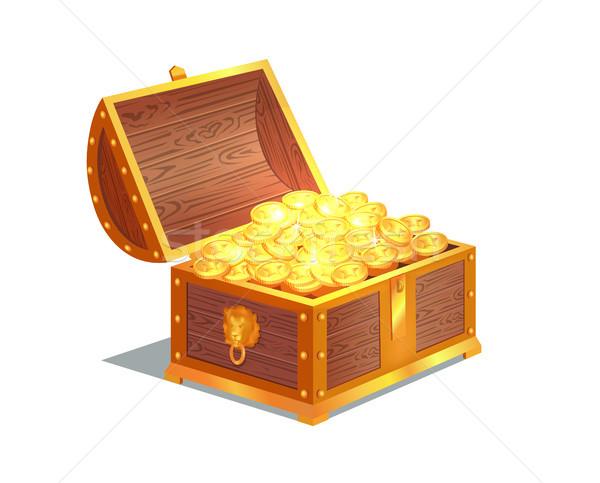 Antigua monedas de oro pesado abierto pecho Foto stock © robuart
