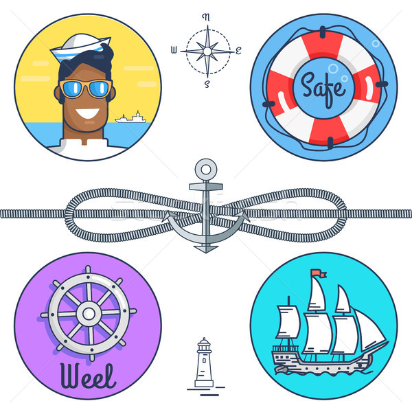 Safe and Wheel Collection Vector Illustration Stock photo © robuart