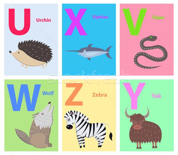 Сток-фото: животные · алфавит · плакат · дети · иллюстрация · письма