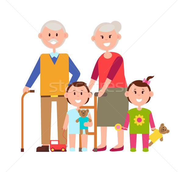 Avós netos cartaz família pessoas bom Foto stock © robuart