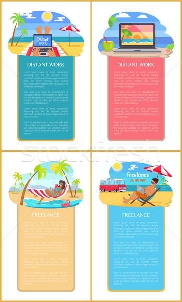 Independiente verano personas playa establecer hombres Foto stock © robuart
