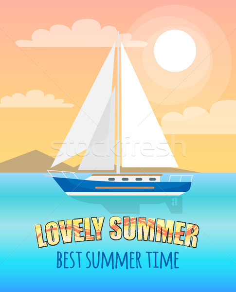 Lovely Summer Poster Depicting Sea with Boat Stock photo © robuart