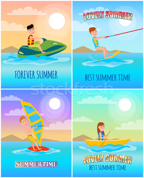 Voor altijd zomer kleurrijk cartoon banner roeien Stockfoto © robuart