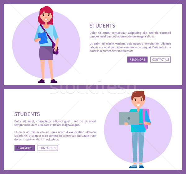 Studenti web manifesti set ragazzo blu Foto d'archivio © robuart