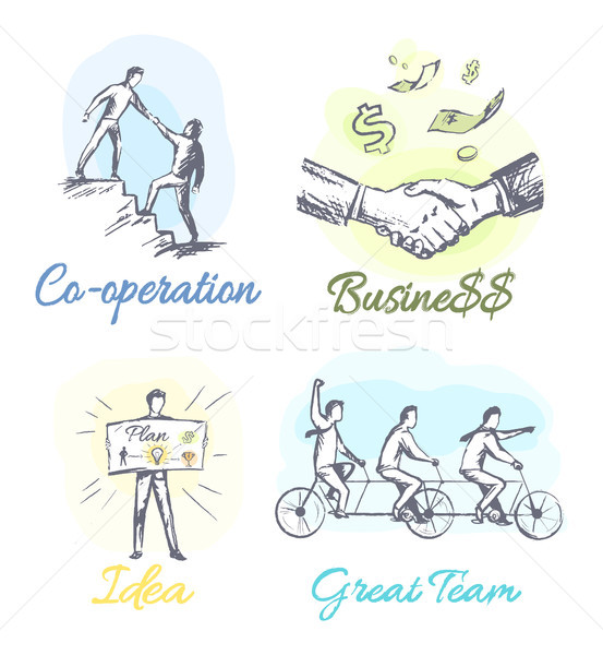 Successful Business Main Components Sketches Set Stock photo © robuart