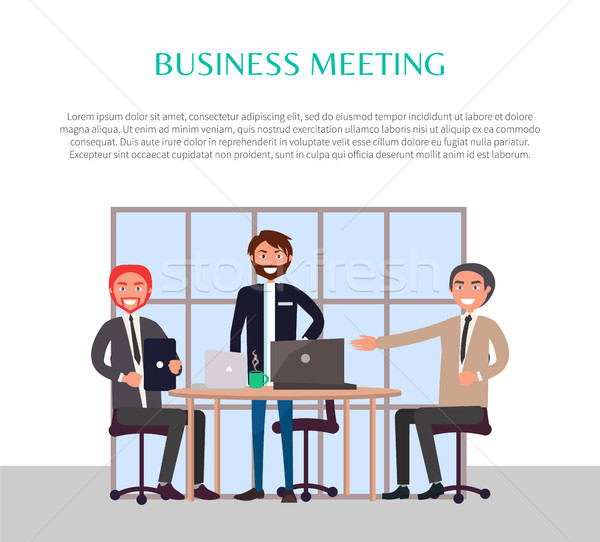 Iş toplantısı poster metin örnek başlık insanlar Stok fotoğraf © robuart