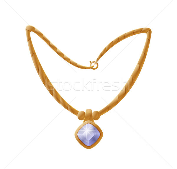 Necklace with Huge Gemstone, Golden Female Accessory Stock photo © robuart