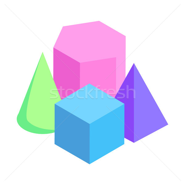 Geometric Figures Exposition Colorful 3d Models Stock photo © robuart