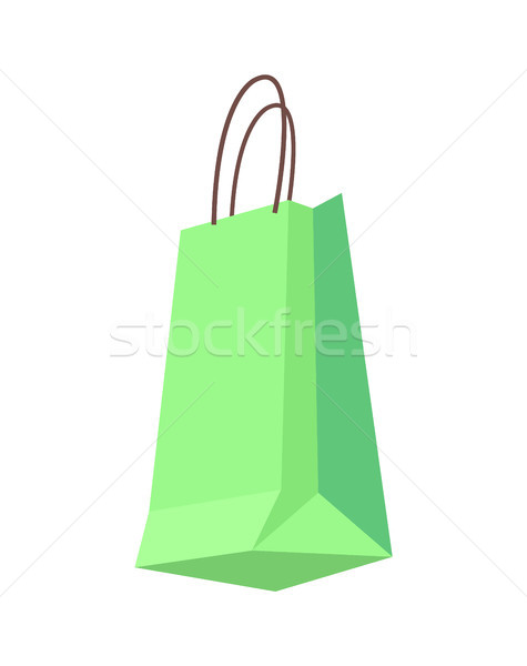 Bag of Green Color with Handles, Shopping Packet Stock photo © robuart