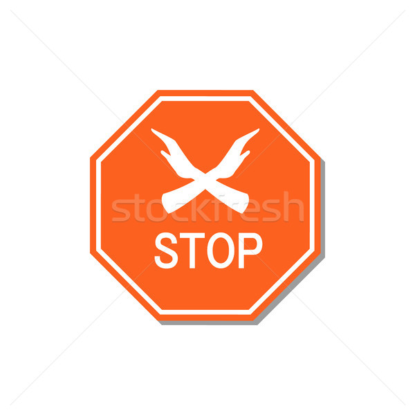 Stop rosso segno due mani ingresso Foto d'archivio © robuart