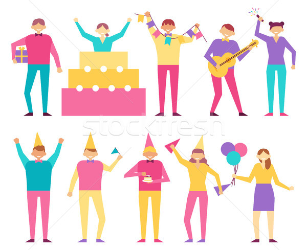 Birthday Party Participants Cartoon Style, People Stock photo © robuart