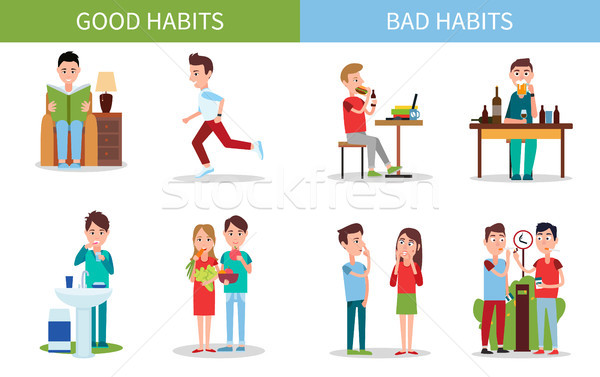 Bad and Good Habits Poster Set Vector Illustration Stock photo © robuart