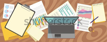 Top view laptop, papers with numbers and charts Stock photo © robuart