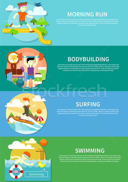 Surfing, Swimming, Run and Bodybuilding Stock photo © robuart