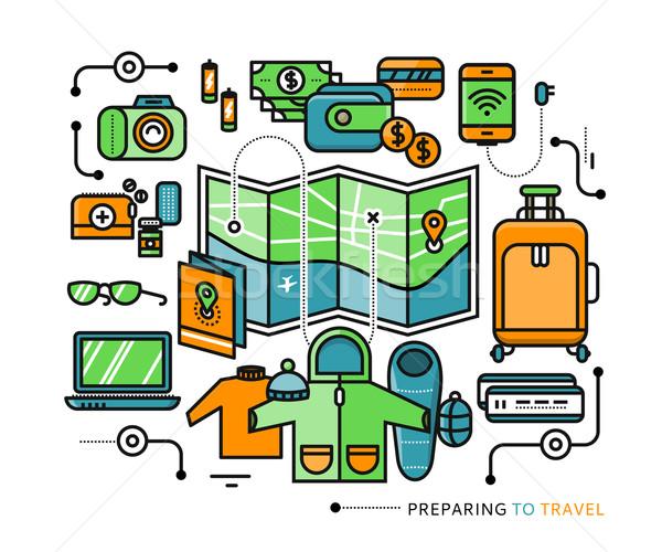 Reizen noodzakelijk wat pack reis iconen Stockfoto © robuart