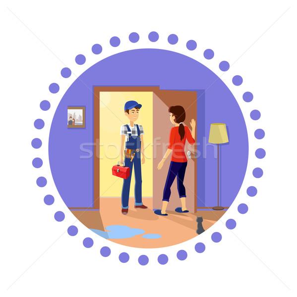 Ménagère maître plombier travaux Ouvrir la Photo stock © robuart