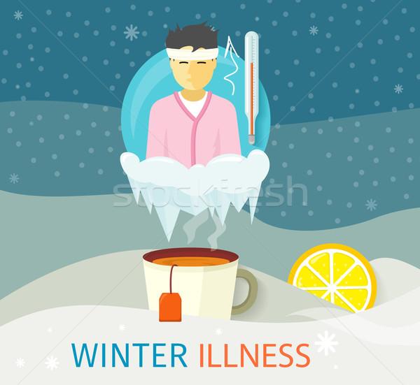 Winter ziekte seizoen mensen ontwerp koud Stockfoto © robuart