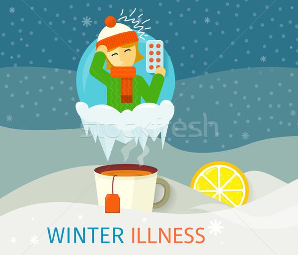Inverno malattia stagione persone design freddo Foto d'archivio © robuart