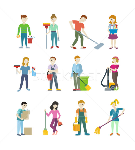 Cleaning Staff Man and Woman Character Stock photo © robuart