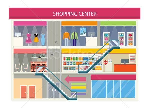 Vásárlás központ terv pláza belső étterem Stock fotó © robuart