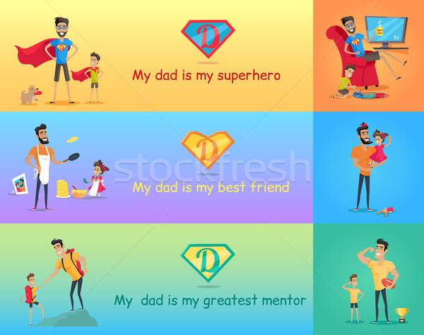 Szuper apa gyerekek apukék nap enyém Stock fotó © robuart