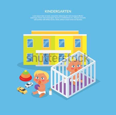 Kindergarten ilustración dos ninos pezón jugar Foto stock © robuart